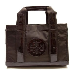 Tory Burch Brown Patent Leather Nylon Tote Bag